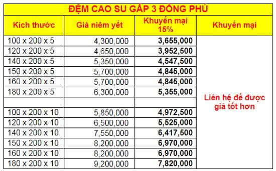 Đệm cao su Đồng Phú gập 3